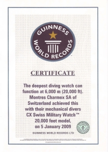 Certificate Guinness Book of World Records, 20'000 FEET